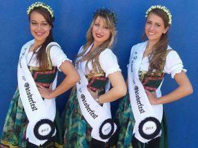 Corte da 15ª Oktoberfest: Eliandra Fernandes Ritta (2ª princesa), Taiane Gomes Pereira (rainha) e Luriani Maestri Marinho (1ª princesa)