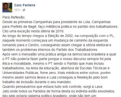 Postagem onde Caio afirma estar saindo do partido