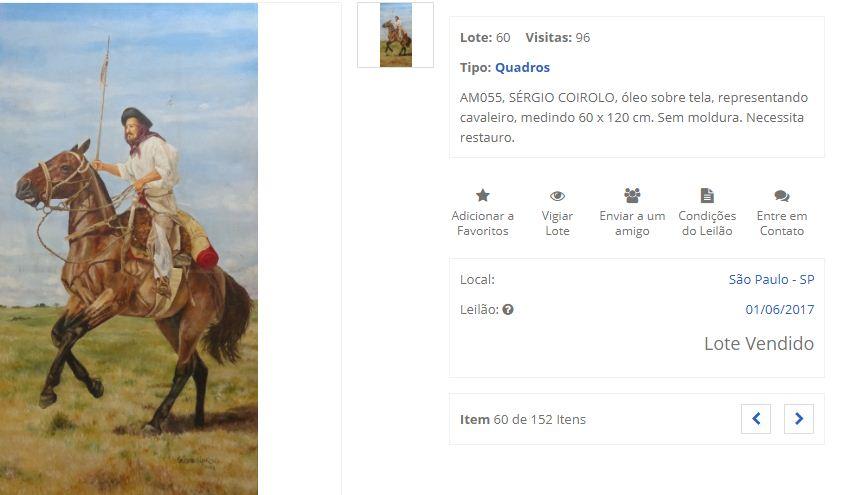 Quadro foi vendido em junho deste ano em São Paulo