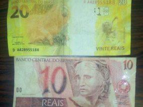 Notas falsas de R$ 10 e R$ 20 foram usadas