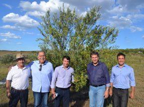 Ministro Eumar Novacki (C), ao lado de Luís Eduardo Batalha (E), do prefeito Zé Antônio, do secretário de Estado da Agricultura Ernani Polo e superintendente do Mapa no RS